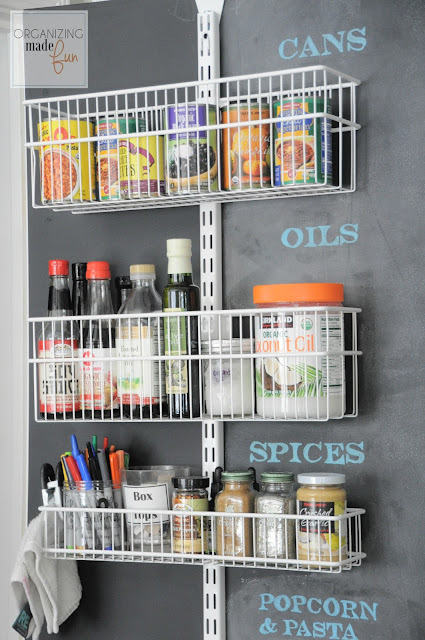 Back of door pantry using a door organizer :: OrganizingMadeFun.com