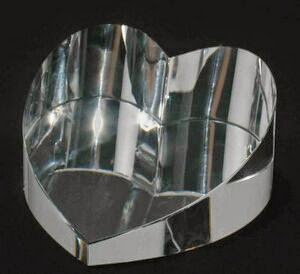 "Clear Heart Slant Paperweight Crystal Award (1/4"" - 1.5""x2.75""x3 1/8"")"