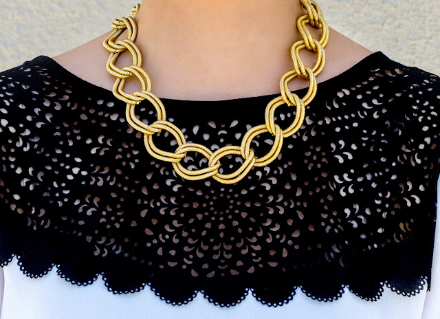 Black and White Laser cut blouse vintage gold link necklace