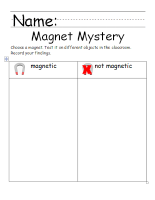 math worksheet : chalk talk a kindergarten blog a mag ic attraction : Magnet Worksheets For Kindergarten