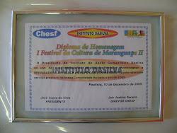 Diploma de Homenagem do 1 Festival da Cultura de Maranguape II em 2005 Oásis do Nordeste