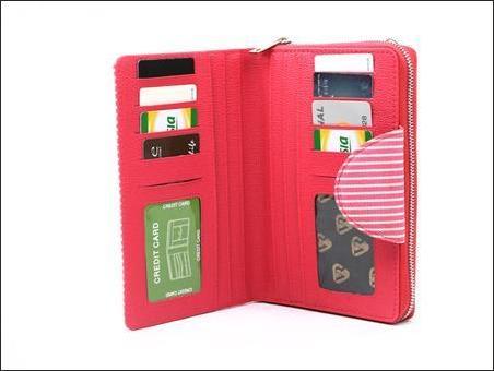 jual dompet wanita korea murah merah garis bagian dalam