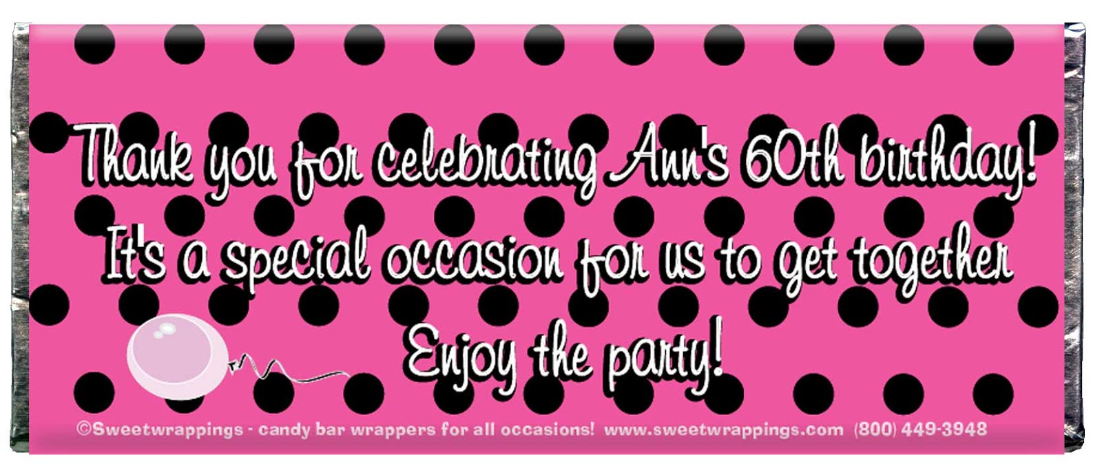 Personalized Candy Wrappers and Party Favors by Sweet Wrappings