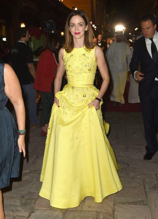 Combined her style with Lorraine Schwartz jewellery, Emily Blunt looked gorgeous in an another long gown of yellow by Zuhair Murad design to the Opening Nigh Gala on Wednesday, December 10, 2014.