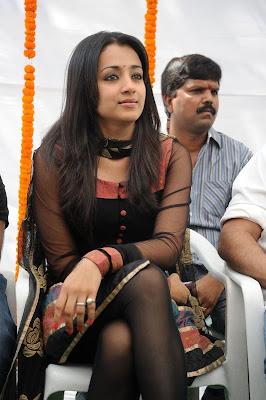 Trisha Hot Leg Show in Black Transparent Chudithar