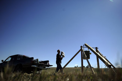 Brian Boldry and his 'First Try Trebuchet' in Colorado
