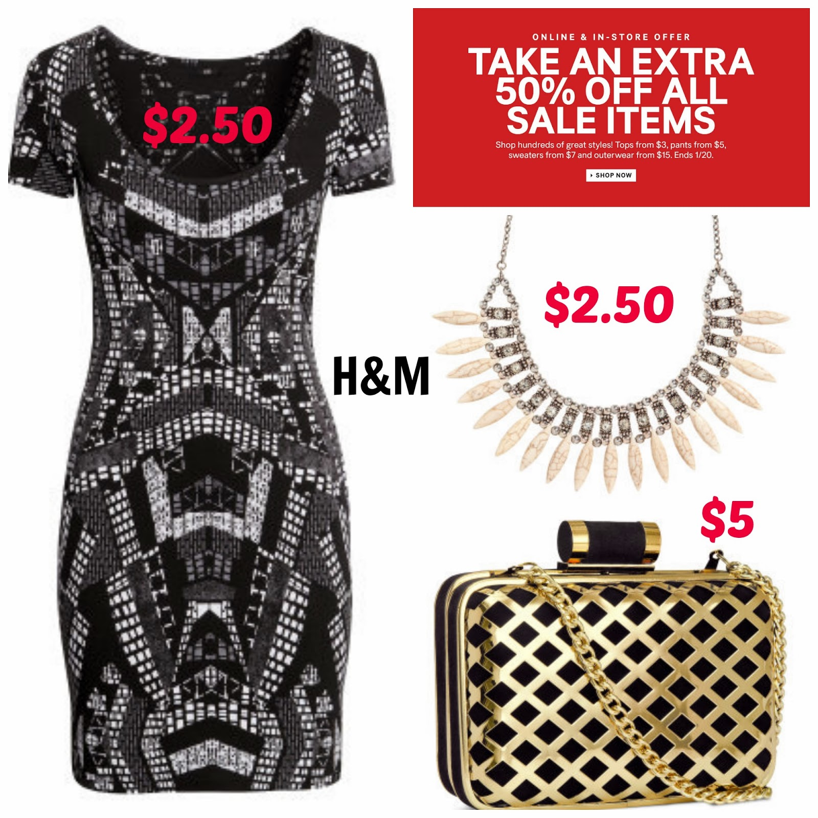 H&M sale, womens, dress, deco clutch, statement necklace