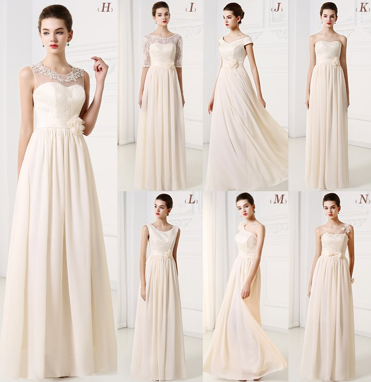 Simple 7-Style Cream Bridesmaids Midi/Maxi Dress