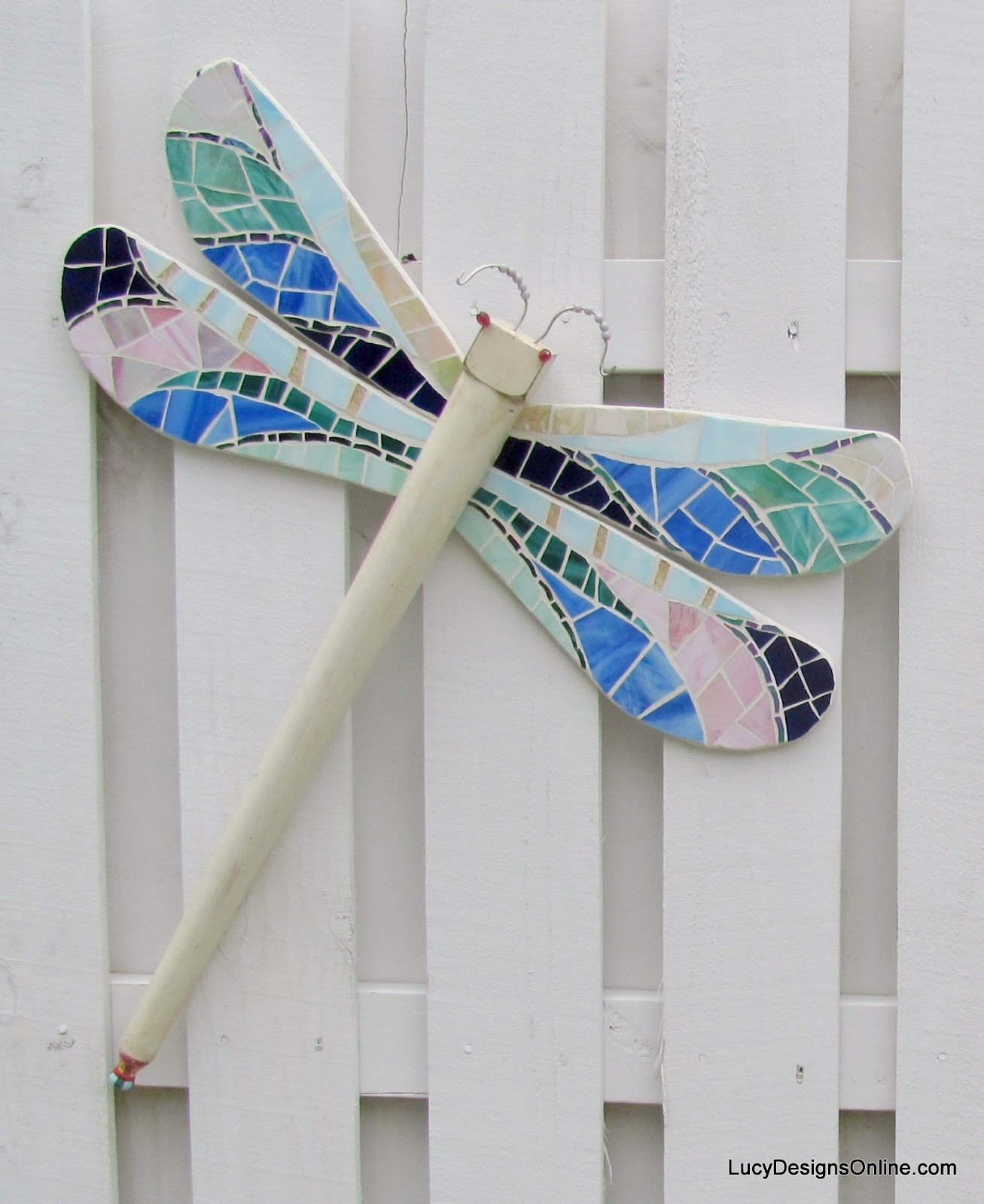 stained glass mosaic table leg dragonfly