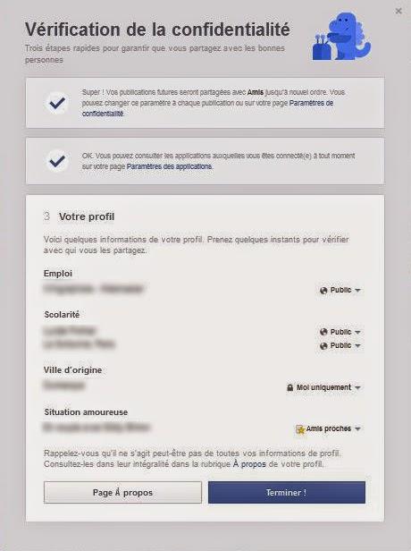 """""""Vérification de la confidentialité"""" sur le profil Facebook"""