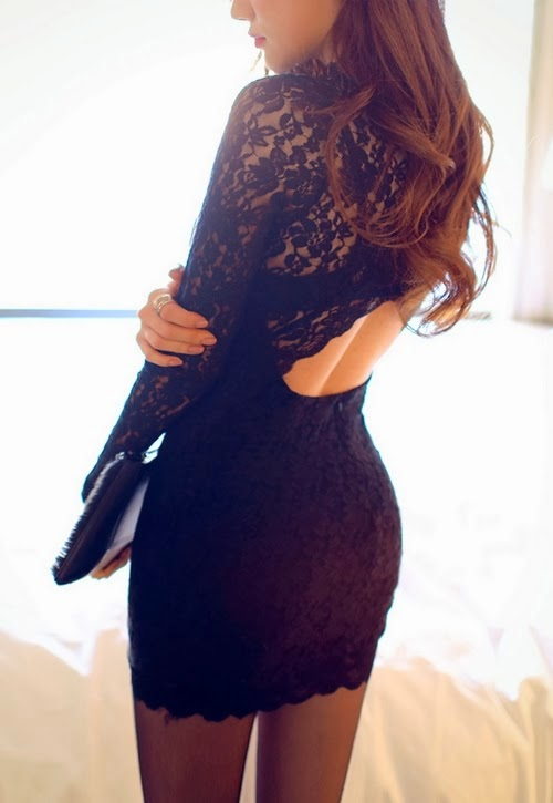 Lace Dress With An Open Back Cut