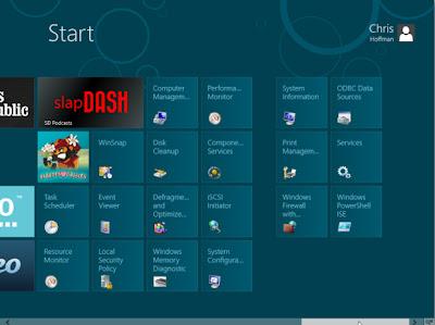 Các bước quản trị hiển thị trong Windows 8