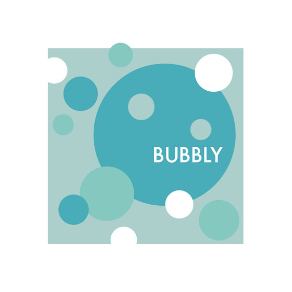 Bubbly. Lots of blue circles on a print