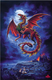 Red Dragon Whitby Wyrm Art Poster