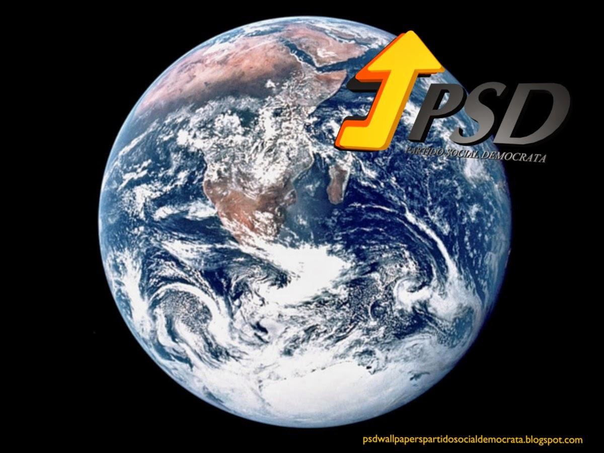 Logotipo do PSD emblema lateral do PSD em fundo de tela Planeta Terra para utilizar como fundo de tela wallpaper do seu ambiente de trabalho