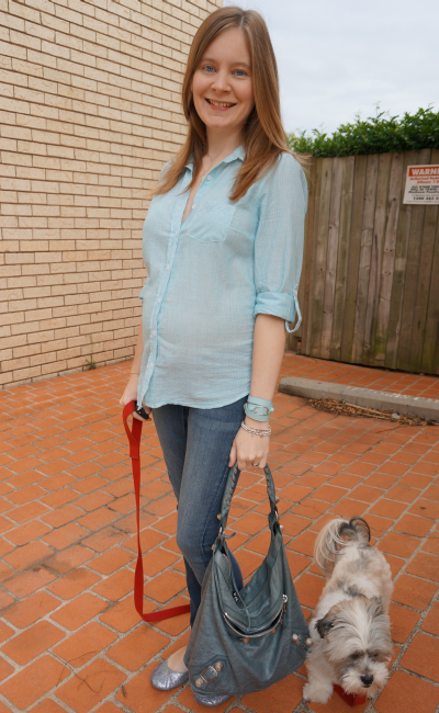 away from blue monochrome outfit stripe shirt skinny jeans casual friday in second trimester