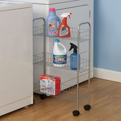 Household Essentials Slimline Three Shelf Utility Cart in Satin Silver