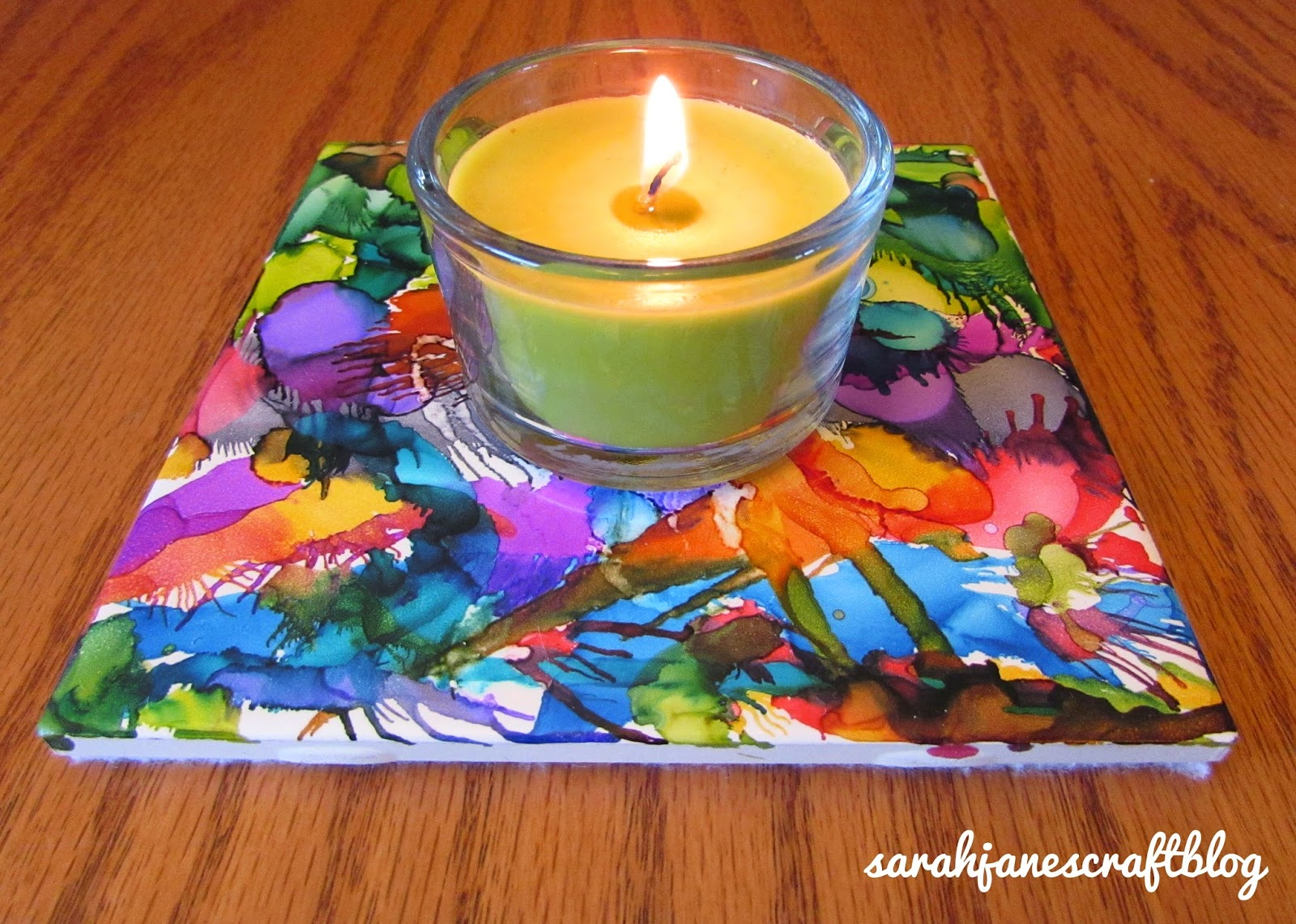 Alcohol Ink Tile Trivet