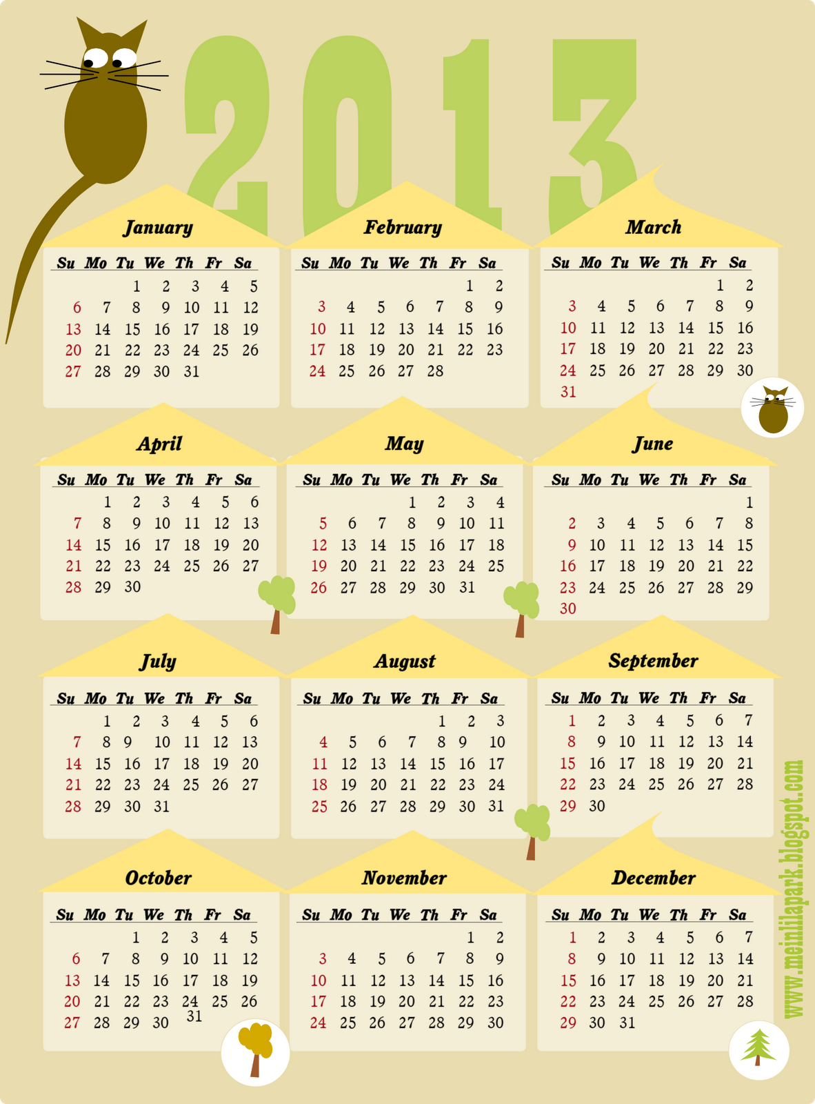 free printable yearly calendar 2013 – calendar 2013 whole year at a