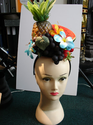 carmen miranda headpiece, handmade, ggs, fascinator, rockabilly, burlesque, summer, ascot, vintage