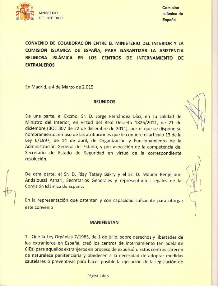 Islam en murcia texto del convenio de colaboraci n del for Ministerio del interior correo electronico