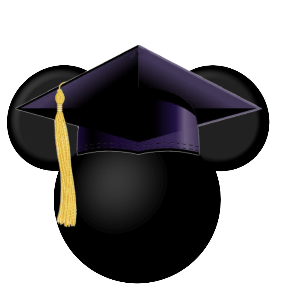 Mickey Mouse Head with Graduation Cap