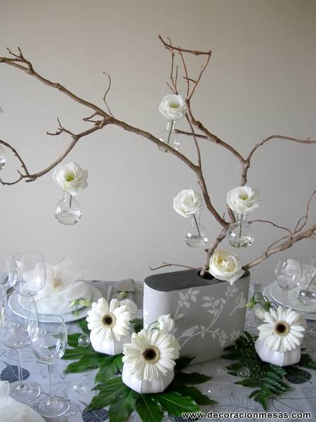 Decoracion de mesas noviembre 2012 for Ramas blancas decoracion