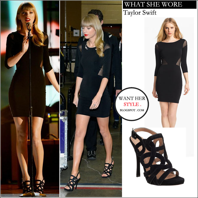What She Wore Taylor Swift Black Mini Dress With Sheer Insets And Stry Sandals In Las Vegas On April 8 I Want Her Style Celebrities