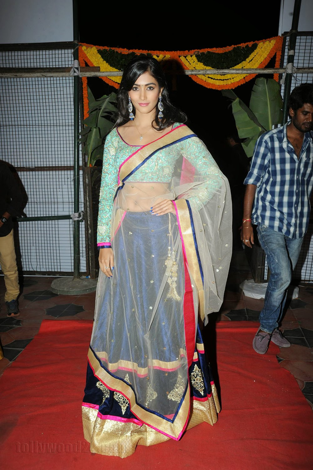 Pooja Hegde Lovely Transparent Lace Saree Sky Blue Full Sleeves Blouse  at Mukunda audio launch