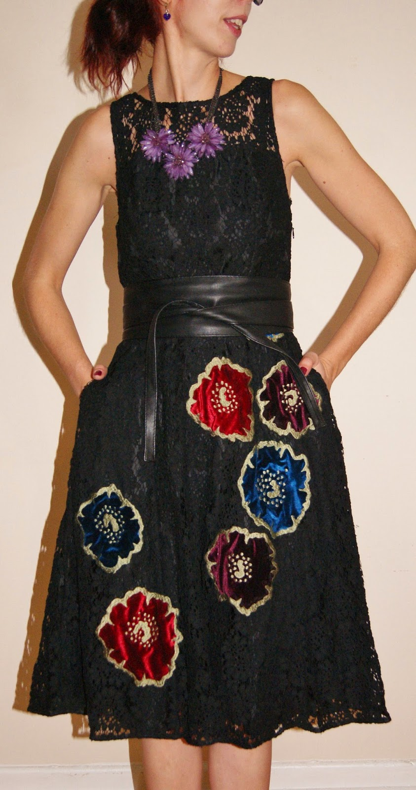 eShakti Floral Applique Lace Dress, Aldo Feather Clutch, Belt, Suzy Shier Purple Flower Necklace, online, fashion, clothing, customize, review, toronto, ontario, canada, the purple scarf, melanie.ps, style, styletips, shopping, ordering
