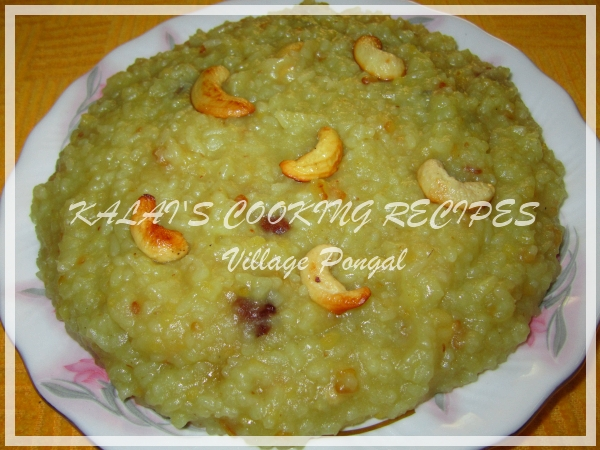 Village Style Sweet Jaggery Pongal