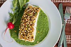 Pistachio and Pine Nut-Crusted Halibut w/ Parsley + Arugula Vichyssoise