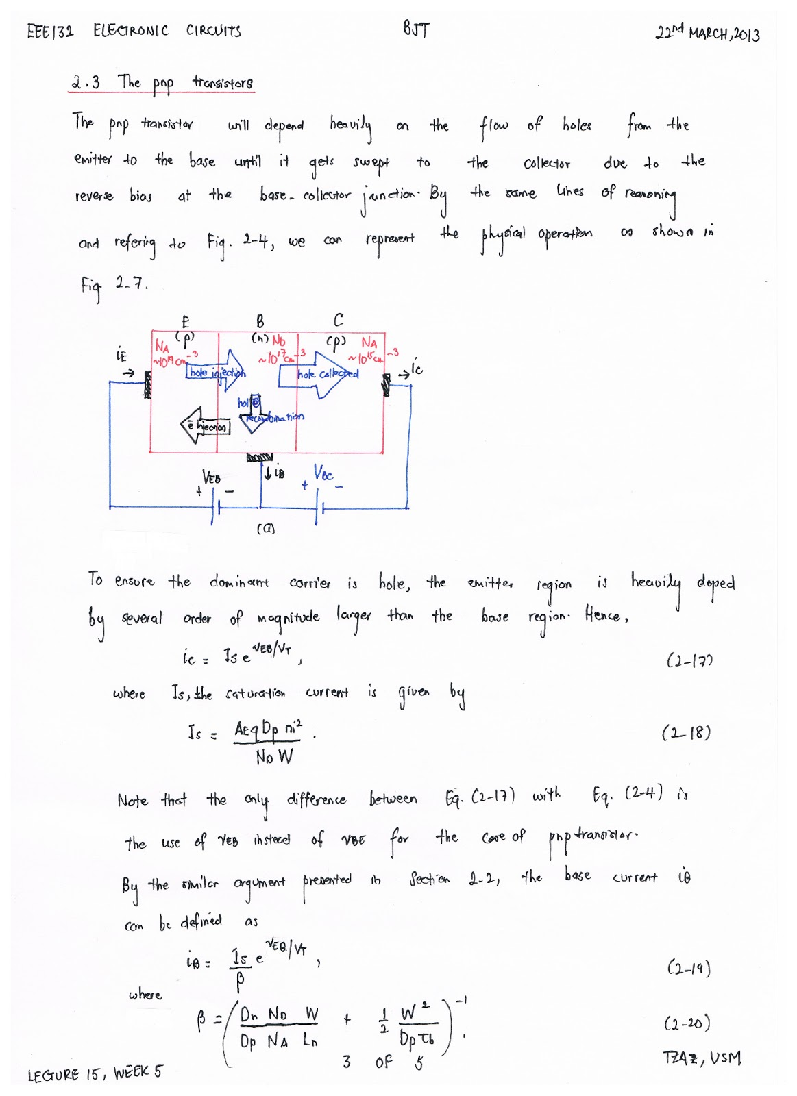 eee132 electronic circuits lecture 15 22nd march, 2013 (week 5) ( 3Electronic Circuit Notes #8