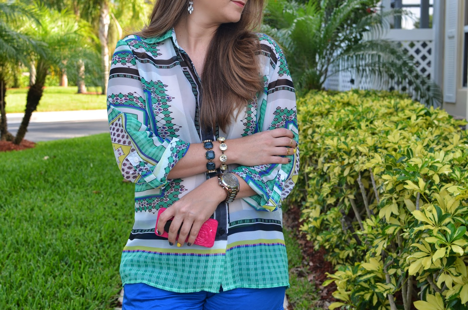 Blue shorts - scarf print top - Emma & Sophia