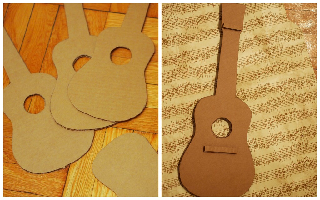 Make a cardboard guitar pink stripey socks for Guitar cut out template