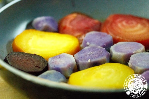 Tarte tatin van biet en paarse aardappel