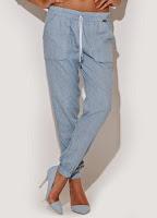 Pantaloni moderni, casual, de culoare bleu ( )