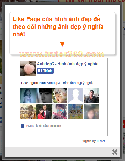 Code Popup khung Like Page Facebook giữa trang cho Website, Blog