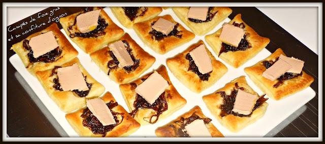 image Canapés de foie gras et sa confiture d'oignon