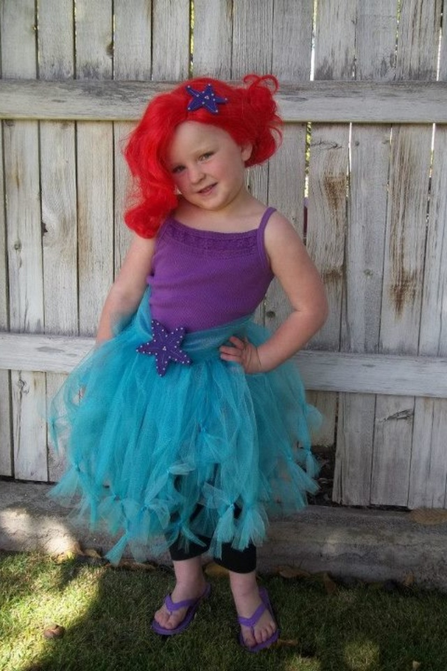 The disney diner diy halloween costumes for the whole family over this sweet ariel costume is made from a tulle skirt solutioingenieria Image collections