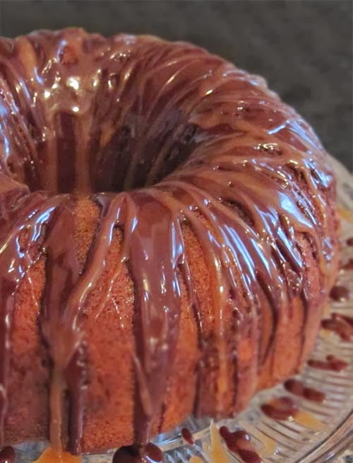 Glaze and swirlies in a Chocolate Marble Pound Cake. Recipe is easier to follow than you'd think.
