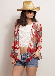 chiffon kimono hippy jacket