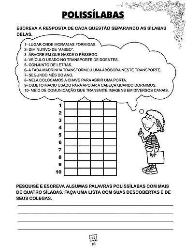 Monossilabas Dissilabas Trissilabas Polissilabas Atividades   15