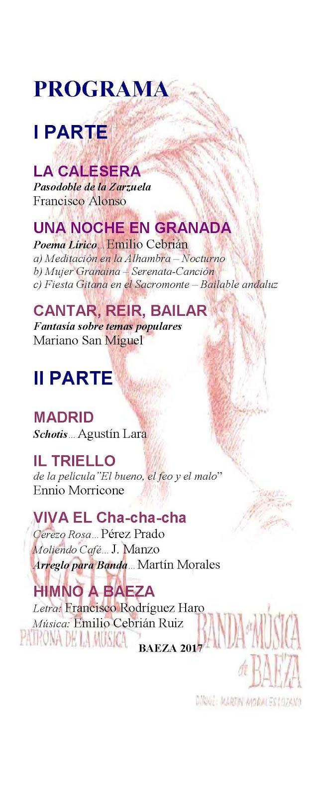 PROGRAMA del Concierto en Honor de Santa Cecilia 2017