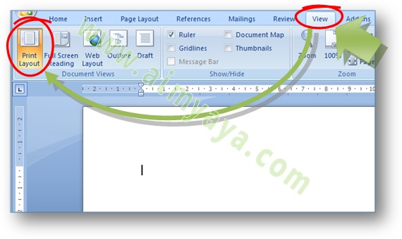 Gambar: Cara merubah tampilan halaman dokumen di Microsoft Word 2007