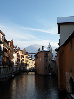 Riverside and mountains in Annecy, France