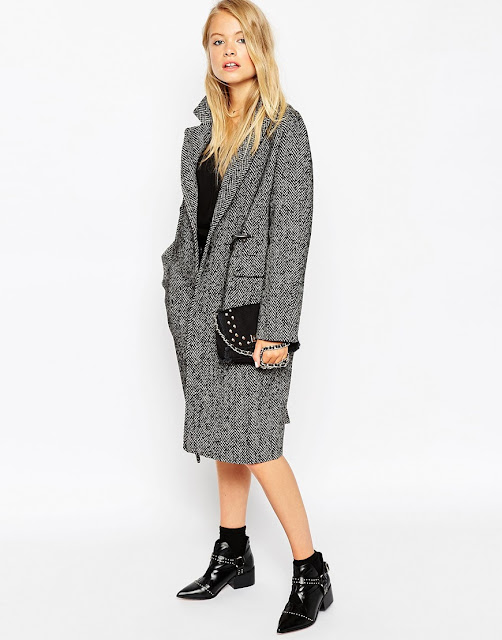 grey herringbone wool coat,