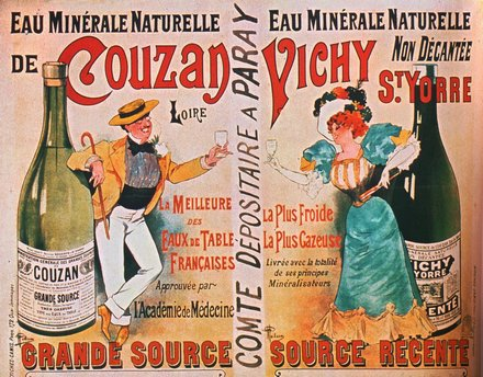 advertising, classic posters, food, free download, french poster, graphic design, retro prints, vintage, vintage posters, Eau Minerale Naturelle de Couzan Vichy St. Yorre - Vintage French Advertising Poster