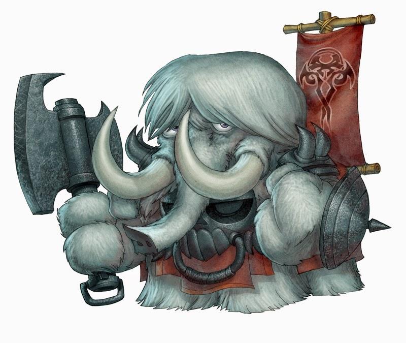 illustration de Vince Chui représentant un mammouth guerrier