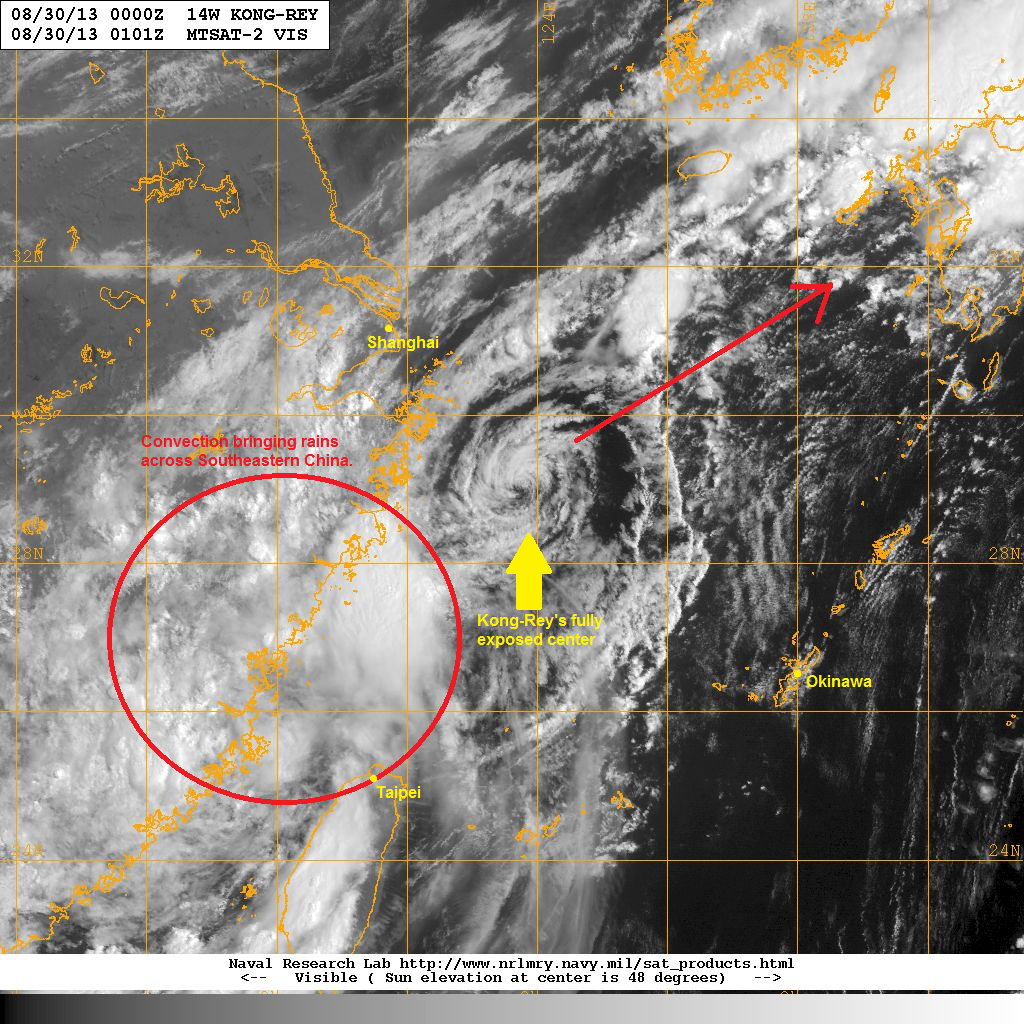 latest satellite image shows the fully exposed low level center of kong rey strong wind shear really wreaked havoc on this system s organization in the